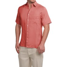 Natural Blue Linen Shirt - Short Sleeve (For Men) in Coral - Closeouts