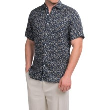 Natural Blue Linen Shirt - Short Sleeve (For Men) in Dark Floral - Closeouts
