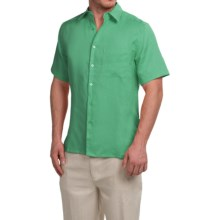 Natural Blue Linen Shirt - Short Sleeve (For Men) in Gum Drop Green - Closeouts