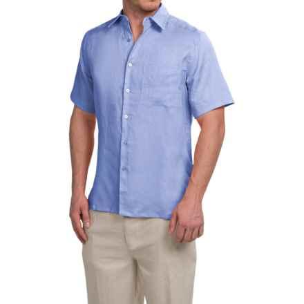 Natural Blue Linen Shirt - Short Sleeve (For Men) in Hydrangea - Closeouts