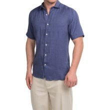 Natural Blue Linen Shirt - Short Sleeve (For Men) in Navy - Closeouts
