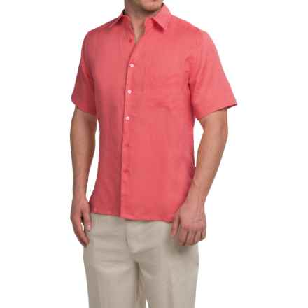 Natural Blue Linen Shirt - Short Sleeve (For Men) in Spice Coral - Closeouts