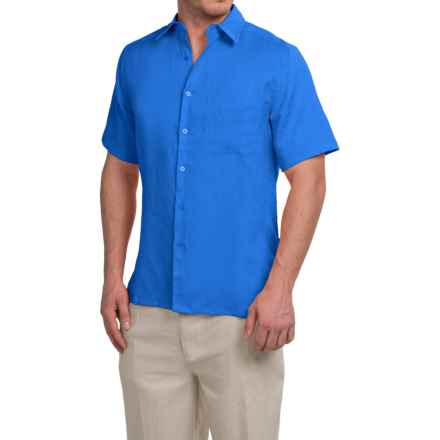 Natural Blue Linen Shirt - Short Sleeve (For Men) in Strong Blue - Closeouts