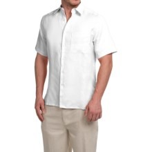 Natural Blue Linen Shirt - Short Sleeve (For Men) in White - Closeouts