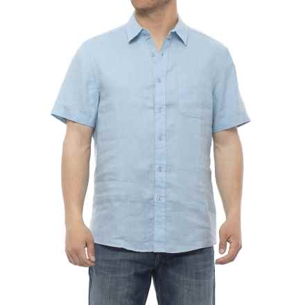 Natural Blue Linen Woven Shirt - Short Sleeve (For Men) in Light Blue - Closeouts