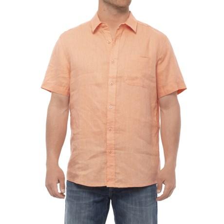 Natural Blue Linen Woven Shirt - Short Sleeve (For Men) in Soft Orange