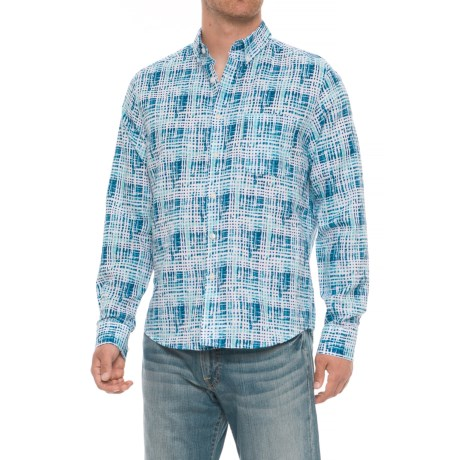 Natural Blue Neat Dash Printed Shirt - Cotton-Linen, Long Sleeve (For Men) in Navy
