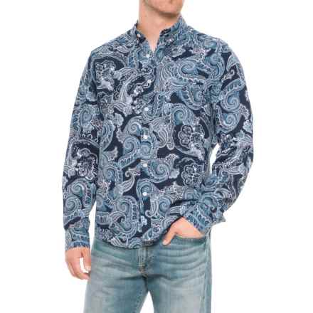 Natural Blue Paisley Printed Shirt - Long Sleeve (For Men) in Navy - Closeouts