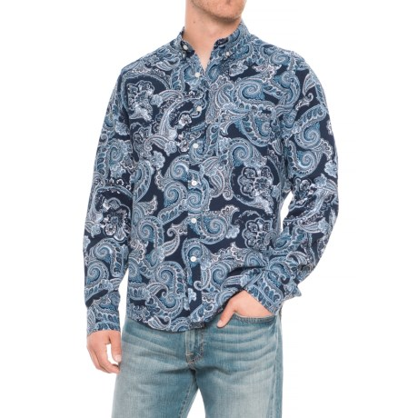 Natural Blue Paisley Printed Shirt - Long Sleeve (For Men) in Navy