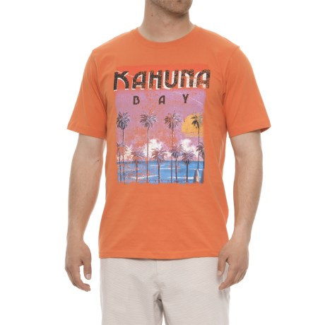 Natural Blue Palm Graphic T-Shirt - Crew Neck, Short Sleeve (For Men) in Orange