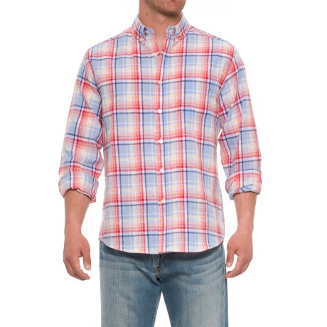 Natural Blue Plaid Printed Shirt - Long Sleeve (For Men) in Multi