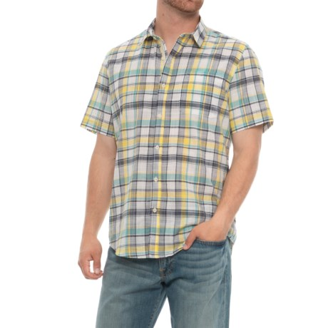 Natural Blue Plaid Shirt - Short Sleeve (For Men) in Blue/Yellow Multi