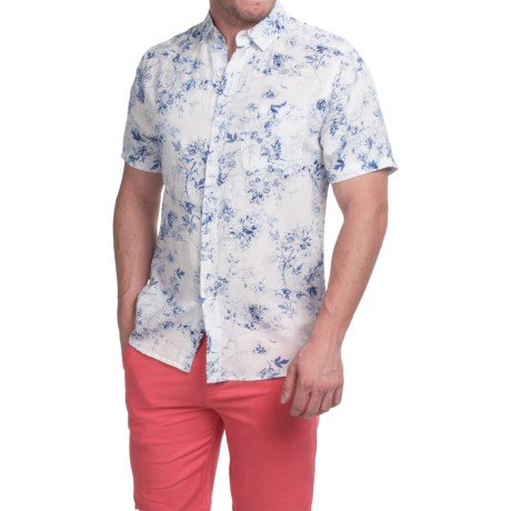 Natural Blue Printed Linen Shirt Short Sleeve (For Men)