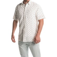 Natural Blue Printed Linen Shirt - Short Sleeve (For Men) in White/Navy - Closeouts
