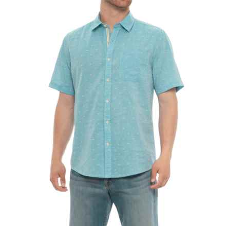 Natural Blue Printed Pocket Shirt - Short Sleeve (For Men) in Blue - Overstock