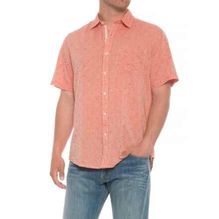 Natural Blue Printed Pocket Shirt - Short Sleeve (For Men) in Coral - Overstock