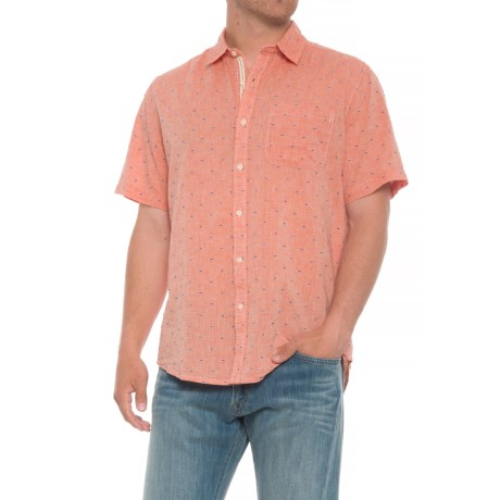 Natural Blue Printed Pocket Shirt - Short Sleeve (For Men) in Coral
