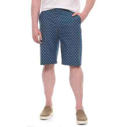 Natural Blue Printed Shorts (For Men) in Indigo/ Fish Bone - Overstock