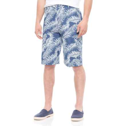 Natural Blue Printed Shorts (For Men) in Indigo/Palm Frond - Overstock