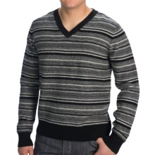Natural Blue Reverse Fair Isle Sweater - Wool Blend, V-Neck (For Men) in Black - Closeouts
