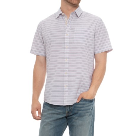 Natural Blue Seersucker Shirt - Short Sleeve (For Men) in Purple