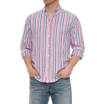 Natural Blue Vertical Striped Shirt - Long Sleeve (For Men) in Multi - Closeouts