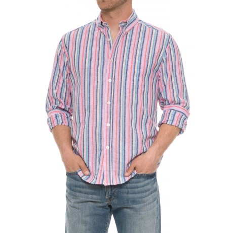 Natural Blue Vertical Striped Shirt - Long Sleeve (For Men) in Multi