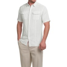 Natural Blue Yarn-Dyed Shirt - Short Sleeve (For Men) in White - Closeouts