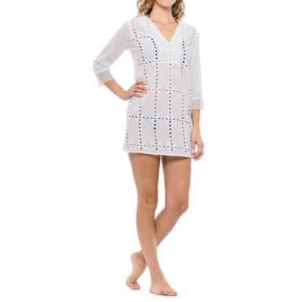 Natural Impressions Crochet V-Neck Swimsuit Cover-Up - 3/4 Sleeve (For Women) in White - Closeouts