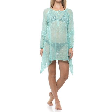 Natural Impressions Scoop Neck Cover-Up - Long Sleeve (For Women) in Green