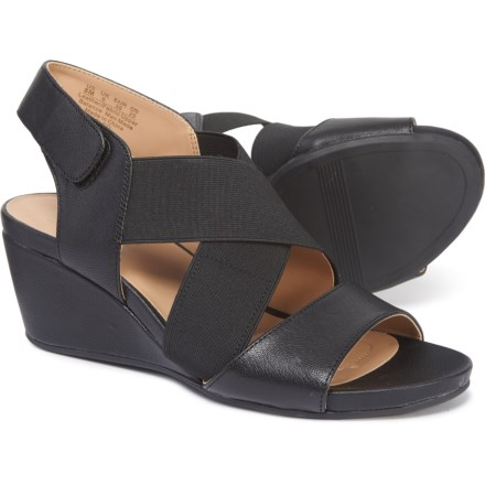 22177b2bd Naturalizer Cleo Wedge Sandals - Leather (For Women) in Black Leather