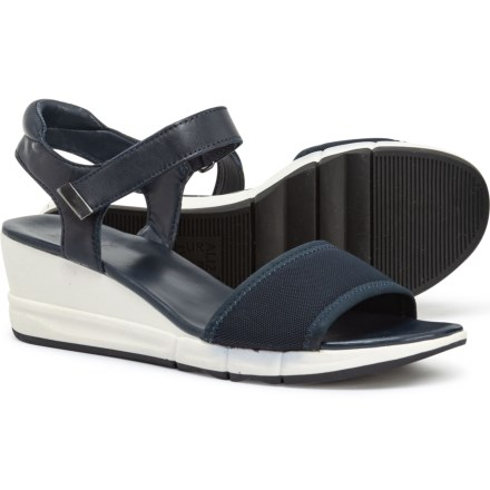 a8dece417a2e Naturalizer Irena Wedge Sandals - Leather (For Women) in Navy Stretch  Leather