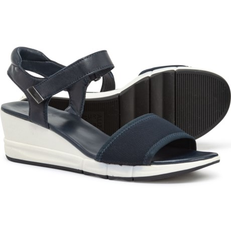 66fd46ae5172 Naturalizer Irena Wedge Sandals - Leather (For Women) in Navy Stretch  Leather