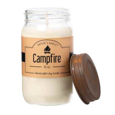 Nature's Kindle Campfire Signature Collection Mason Jar Soy Candle - 16 oz. in Campfire - Closeouts