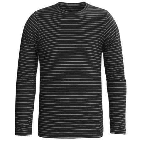 NAU Basis Stripe Crew Shirt - Long Sleeve (For Men) in Caviar Stripe