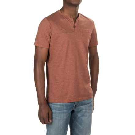 NAU Echo Henley Shirt - Organic Cotton, Short Sleeve (For Men) in Cinnabar Stripe - Closeouts