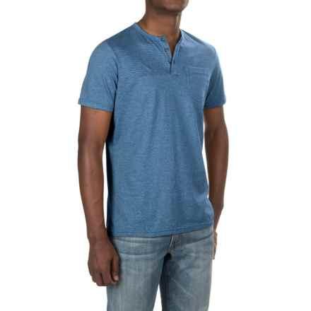 NAU Echo Henley Shirt - Organic Cotton, Short Sleeve (For Men) in Marina Stripe - Closeouts
