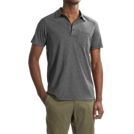 NAU Echo Polo Shirt - Organic Cotton, Short Sleeve (For Men) in Caviar Stripe - Closeouts