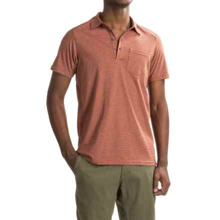 NAU Echo Polo Shirt - Organic Cotton, Short Sleeve (For Men) in Cinnabar Stripe - Closeouts
