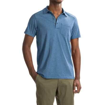 NAU Echo Polo Shirt - Organic Cotton, Short Sleeve (For Men) in Marina Stripe - Closeouts