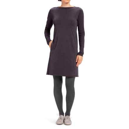 NAU Elementerry Boat Neck Dress - Organic Cotton-TENCEL®, Long Sleeve (For Women) in Aubergine - Closeouts