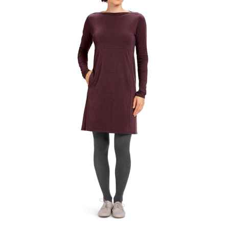 NAU Elementerry Boat Neck Dress - Organic Cotton-TENCEL®, Long Sleeve (For Women) in Redwood Heather - Closeouts