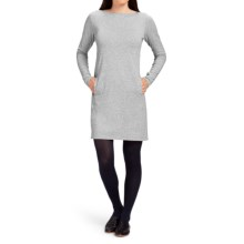NAU Elementerry Boat Neck Dress - Organic Cotton-TENCEL®, Long Sleeve (For Women) in Zinc Heather - Closeouts