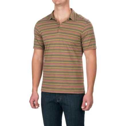 NAU Genus Stripe Polo Shirt - Organic Cotton, Short Sleeve (For Men) in Cactus Stripe - Closeouts