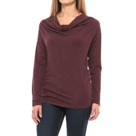 NAU M2 Cowl Neck Shirt - Merino Wool, Long Sleeve (For Women) in Adobo Stripe - Closeouts