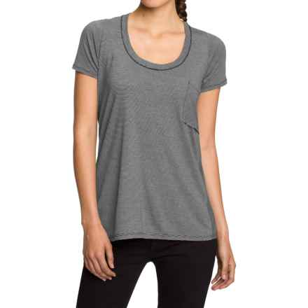NAU M2 Scoop Neck Shirt - Merino Wool-TENCEL®, Short Sleeve (For Women) in Caviar Stripe - Closeouts