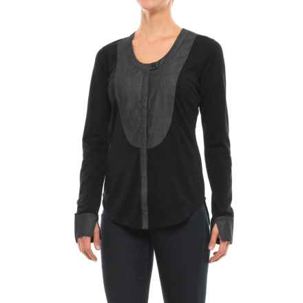 NAU Mixt Shirt - Merino Wool, Long Sleeve (For Women) in Caviar - Closeouts