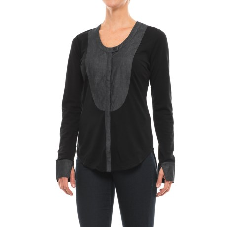 NAU Mixt Shirt - Merino Wool, Long Sleeve (For Women) in Caviar