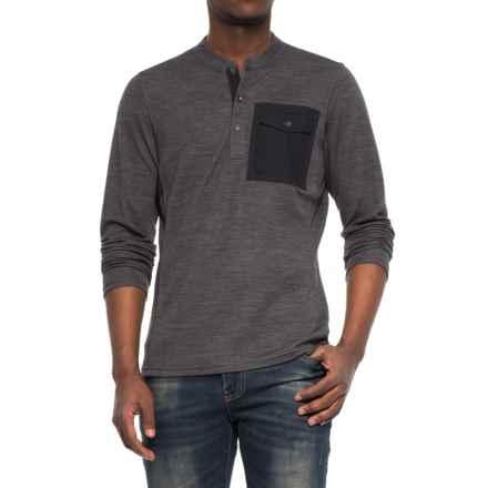 NAU Randygoat Lite Henley Shirt - Long Sleeve (For Men) in Caviar Heather - Overstock