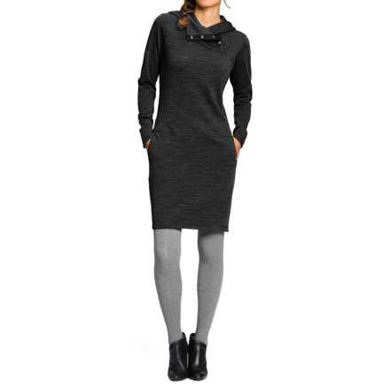 NAU Randygoat Sweater Dress - Hooded, Long Sleeve (For Women) in Caviar Heather - Closeouts